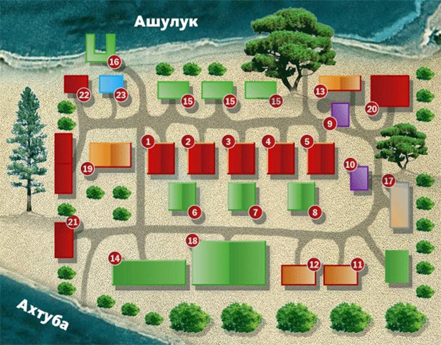 План-схема базы «Песчаный
