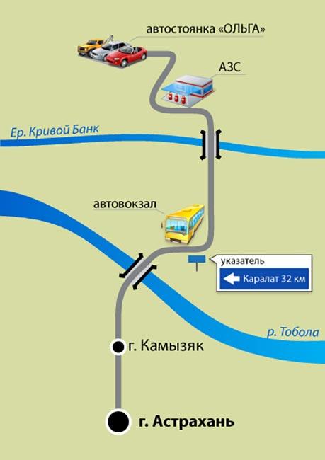 Схема проезда до базы «Остров